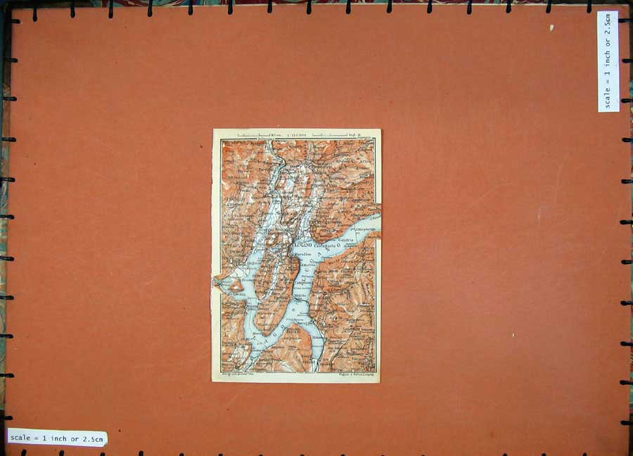 Print 1909 Colour Map Italy Lugano Bireno Lugano Capolago 254D104 Old Original