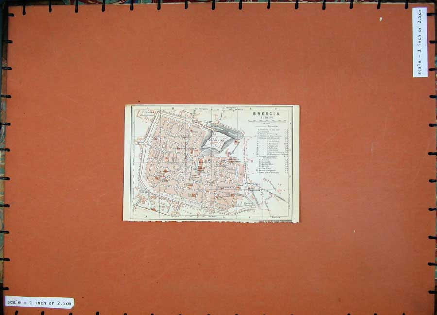 Print 1909 Colour Map Italy Street Plan Brescia Castello 256D104 Old Original