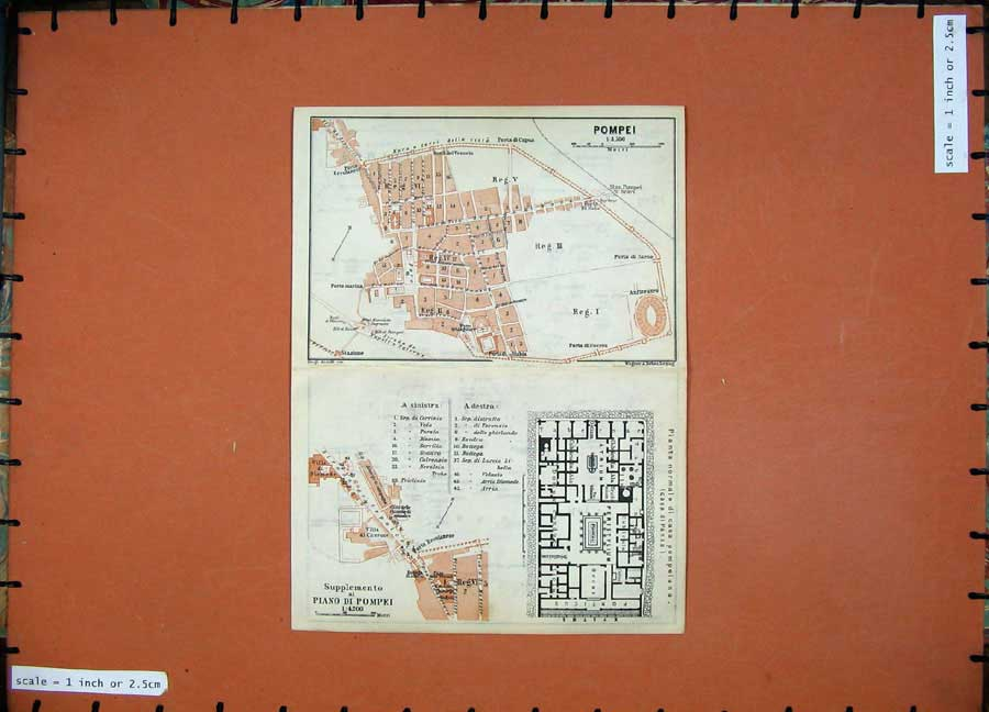 Print 1912 Colour Map Italy Rome Pompei Piano Street Plan 360Rd106 Old Original
