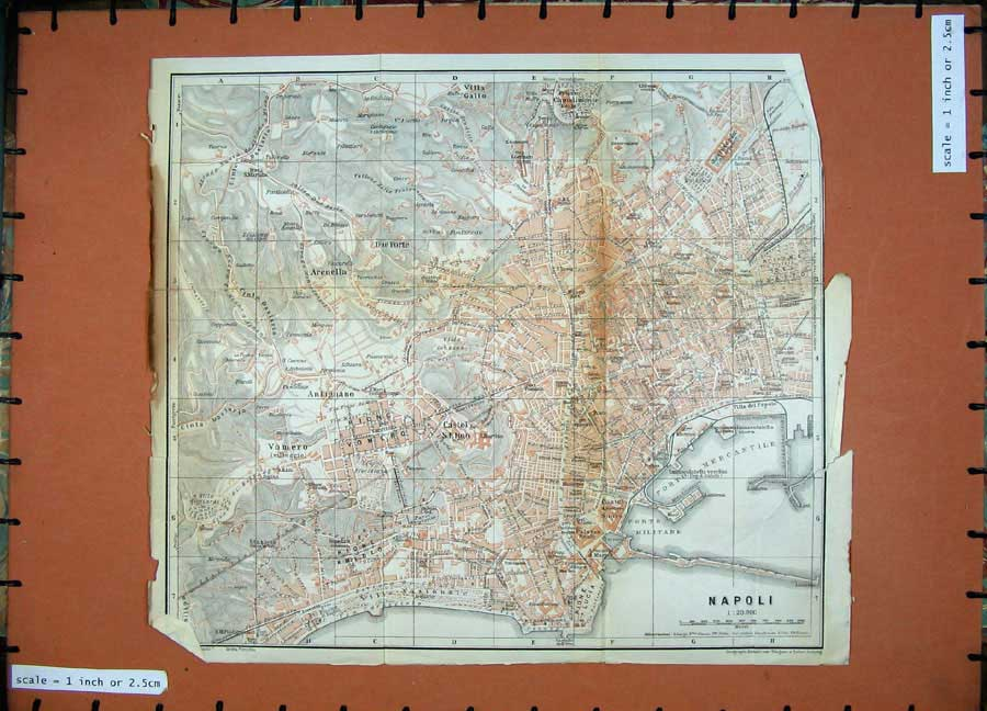 Print 1912 Colour Map Italy Street Plan Napoli Castel Elino 361D106 Old Original