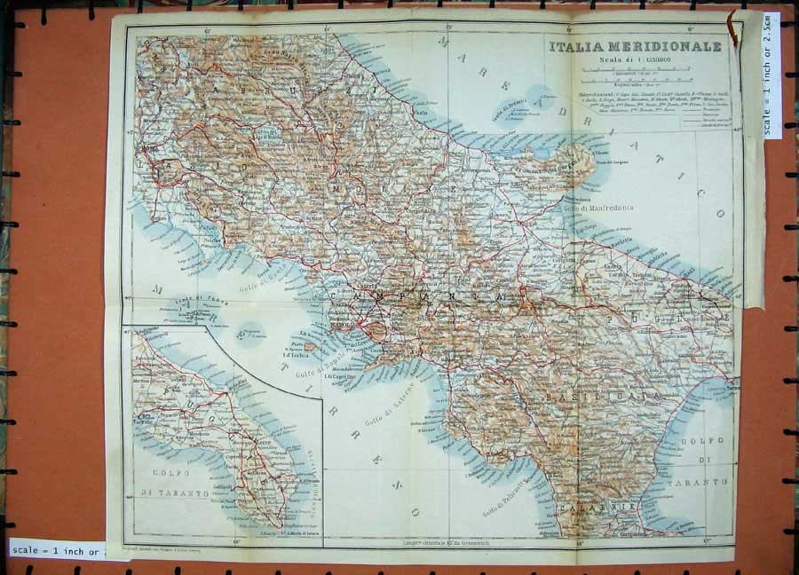 Print 1912 Colour Map Italy Italia Meridionale Napoli Roma 363D106 Old Original