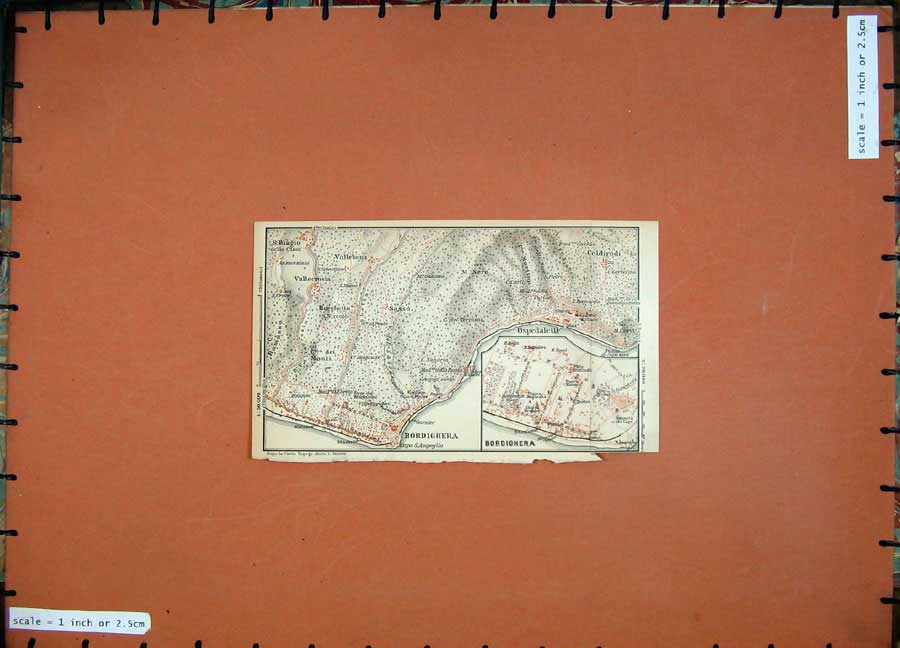 Print 1903 Colour Map Italy Bordighera Street Plan Stazione 406D107 Old Original