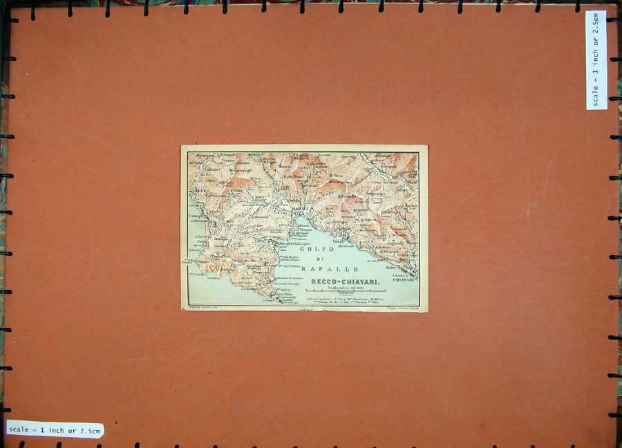 Print 1903 Colour Map Italy Chiavari Recco-Chiavari Rarallo 410D107 Old Original