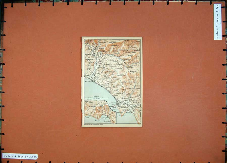 Print 1903 Colour Map Italy Sestri Lavagna Chiavari Carasco 411D107 Old Original