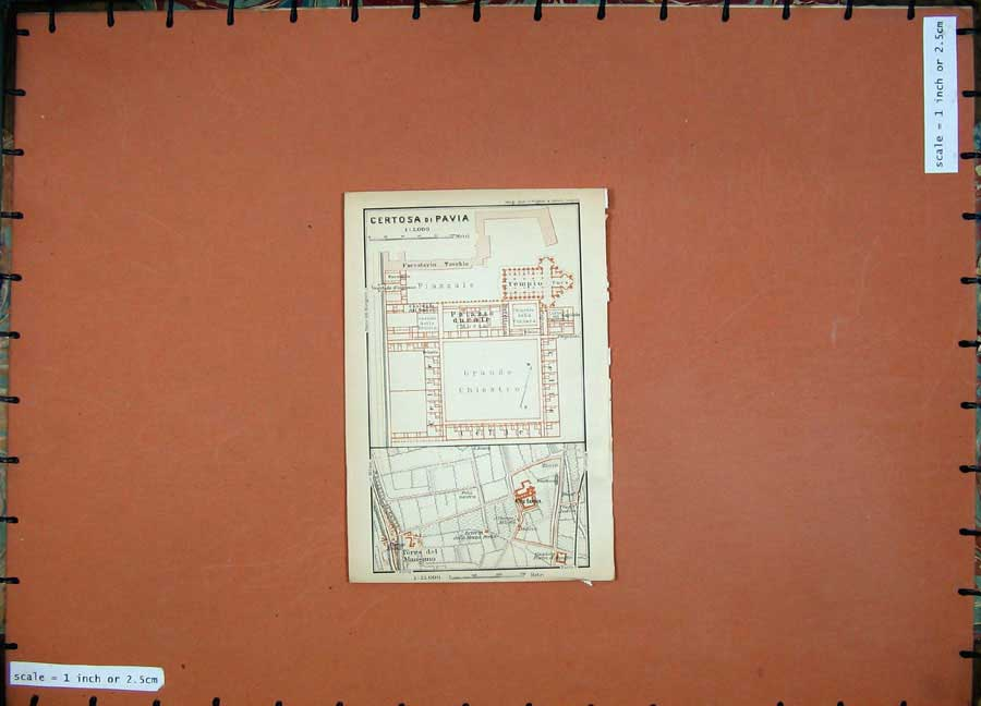 Print 1903 Colour Map Italy Plan Certosa Di Pavia Chiostro 413D107 Old Original