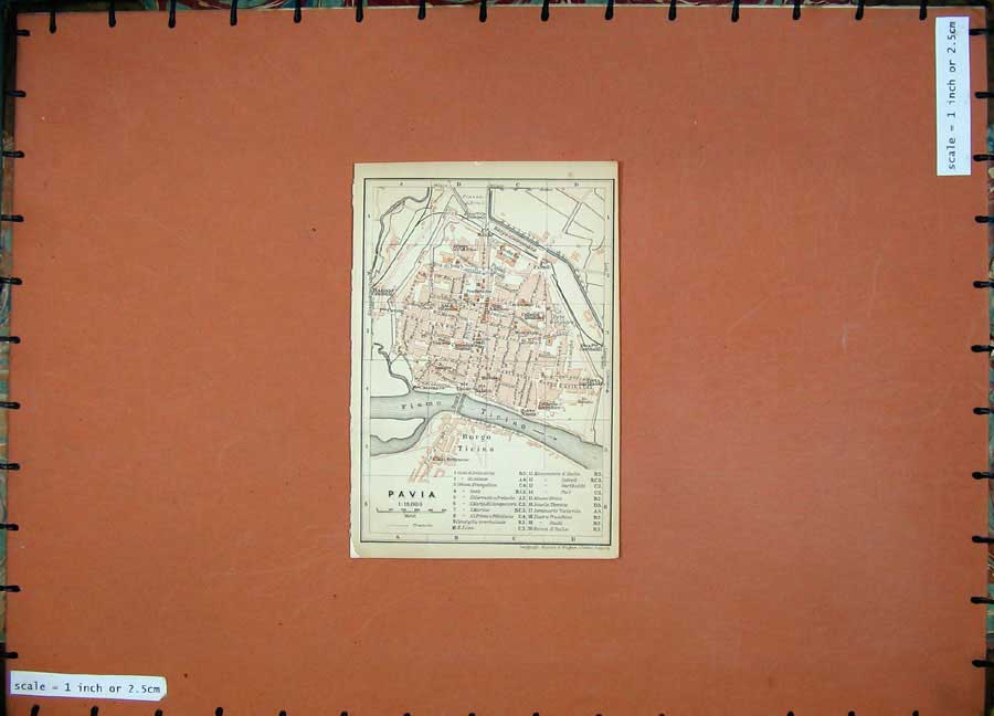 Print 1903 Colour Map Italy Street Plan Pavia Fiume Ticino 417D107 Old Original