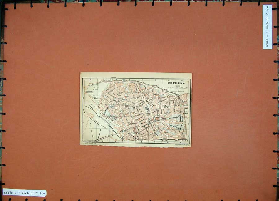 Print 1903 Street Plan Cremona Colour Map Italy Piazza D'Armi 418D107 Old Original