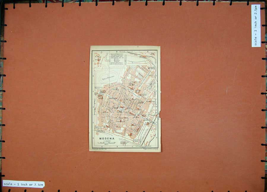 Print 1903 Colour Map Italy Street Plan Modena Ippodromo 430D107 Old Original