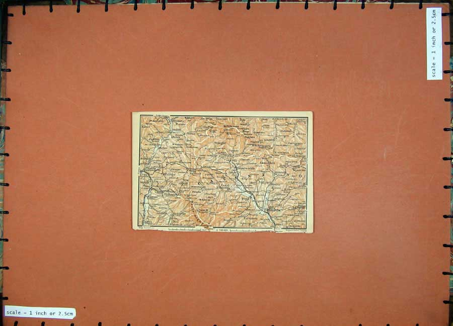Print 1903 Colour Map Italy Pratovecchio Bibbiena Pelago 434D107 Old Original
