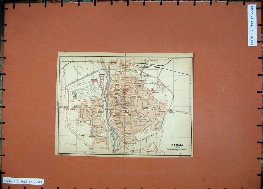 Print 1903 Colour Map Italy Street Plan Parma Cittadella 443D107 Old Original