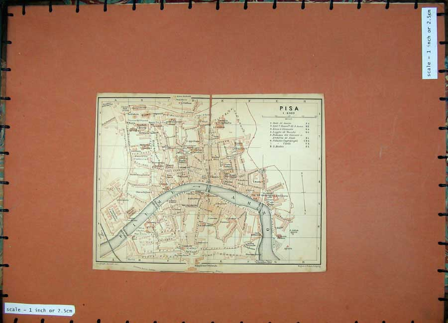 Print 1903 Colour Map Italy Street Plan Pisa Fiume Arno River 444D107 Old Original
