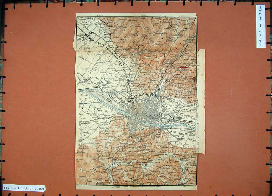 Print 1903 Colour Map Italy Street Plan Firenze Galluzzo 446D107 Old Original