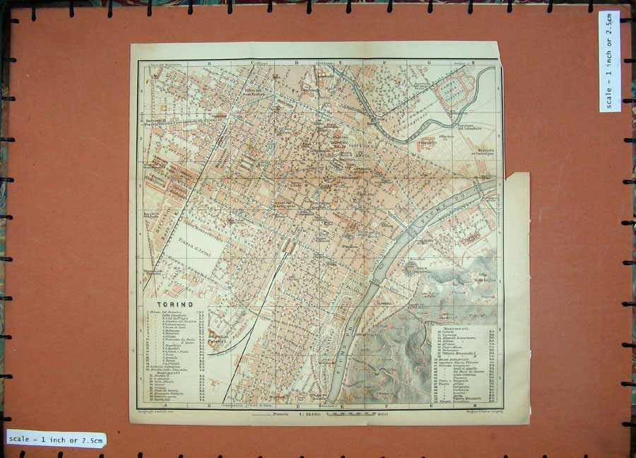 Print Street Plan Torino 1903 Colour Map Italy Fiume Piazza 449D107 Old Original