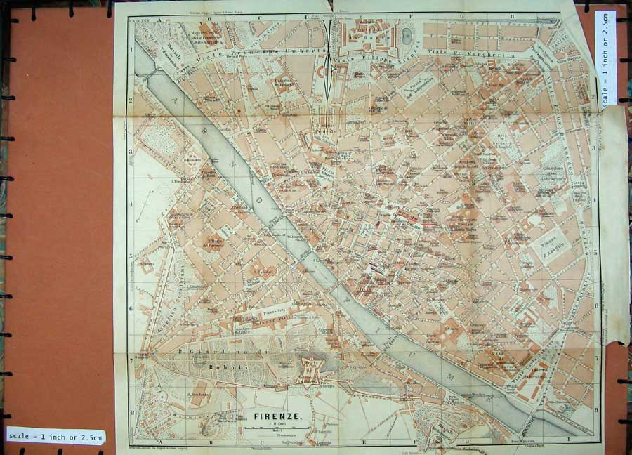 Print 1903 Colour Map Italy Street Plan Firenze Arno Fiume 451D107 Old Original