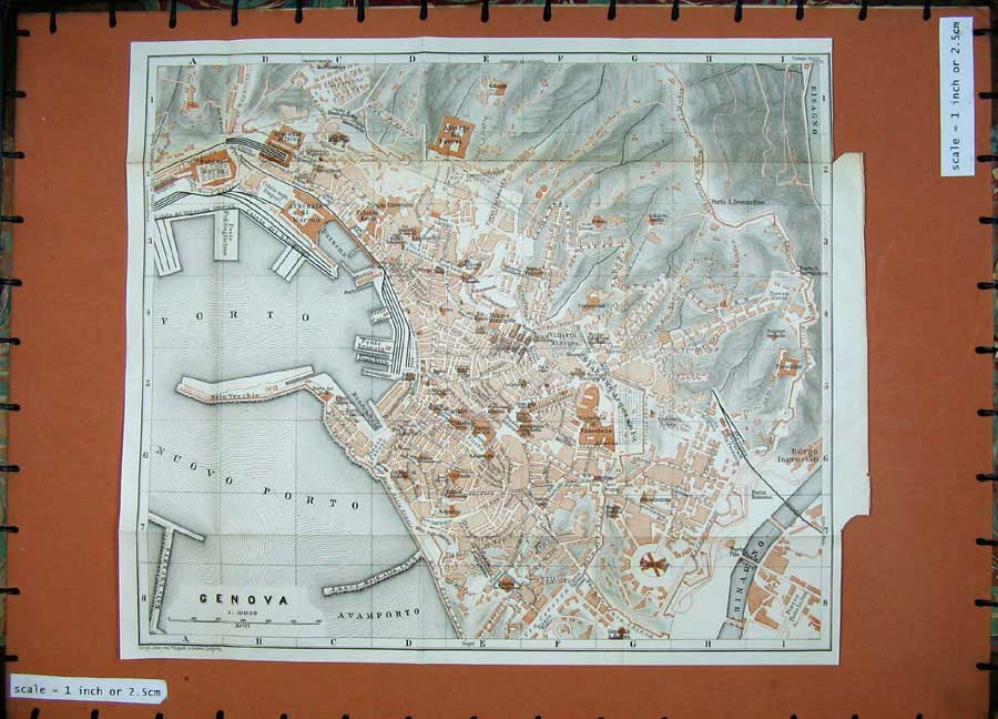 Print 1886 Street Plan Genova Colour Map Italy Bisagno Porto 628D109 Old Original