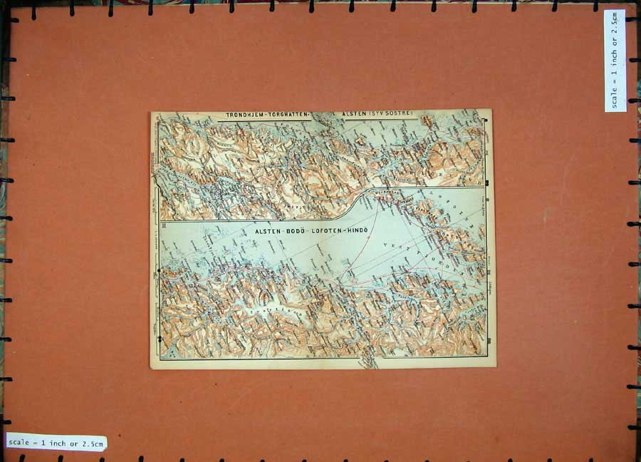 Print 1899 Map Norway Denmark Sweden Alsten Lofoten Hindo 728D110 Old Original