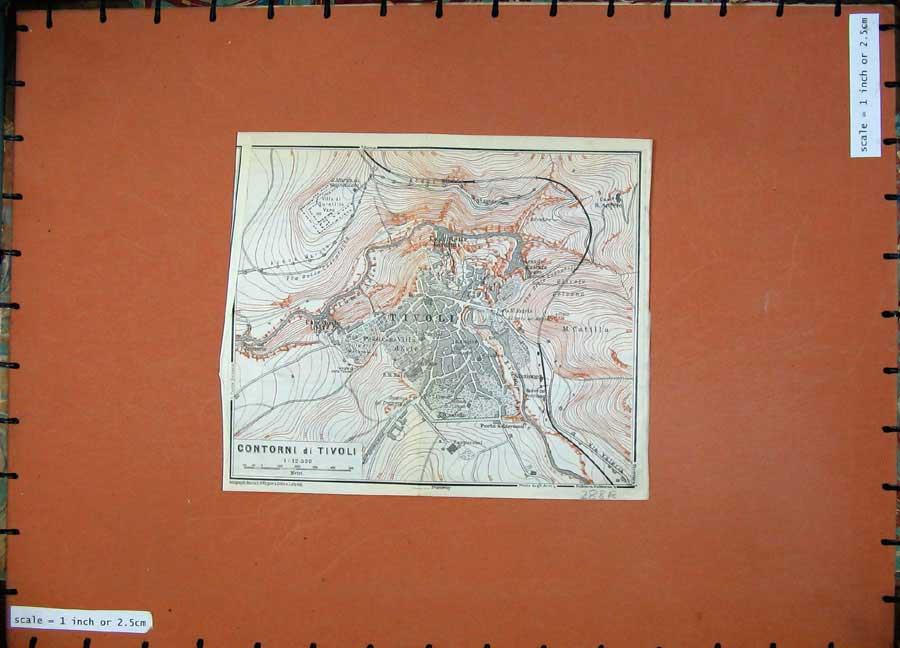 Print 1909 Colour Map Italy Street Plan Tivoli Villa Adriana 288Rd111 Old Original