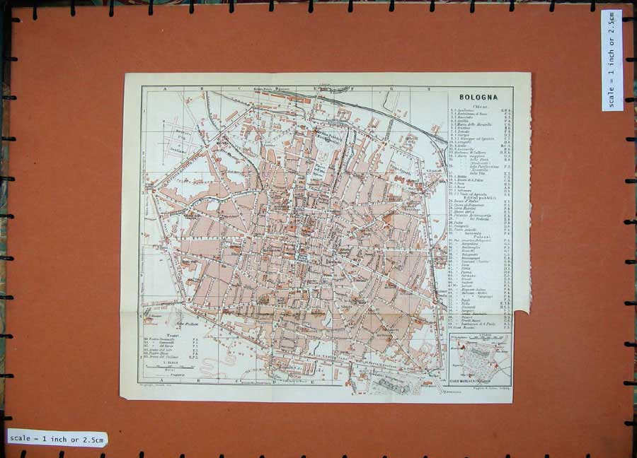 Print 1909 Colour Map Italy Street Plan Bologna Karl Baedeker 292D111 Old Original