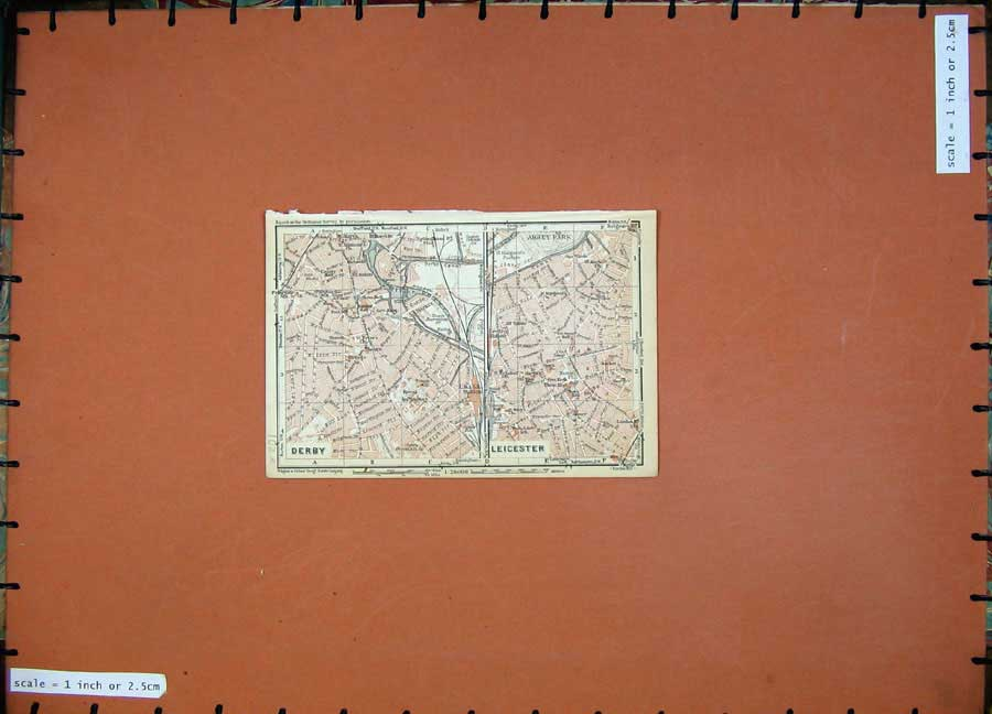 Print 1927 Colour Map England Street Plan Derby Leicester 102Rd112 Old Original
