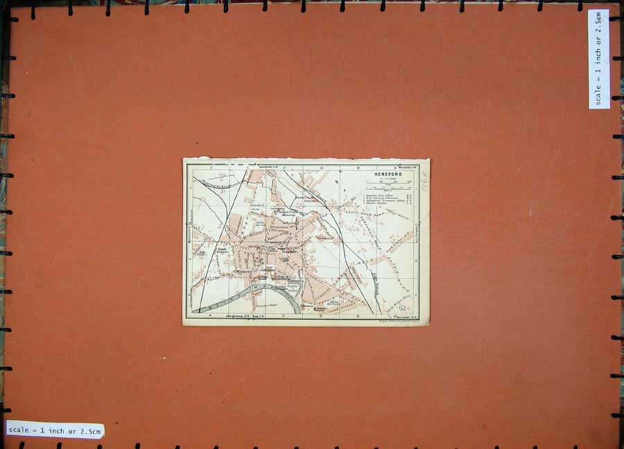 Print 1927 Map England Street Plan Hereford Chepstow Goodrich 106Rd112 Old Original