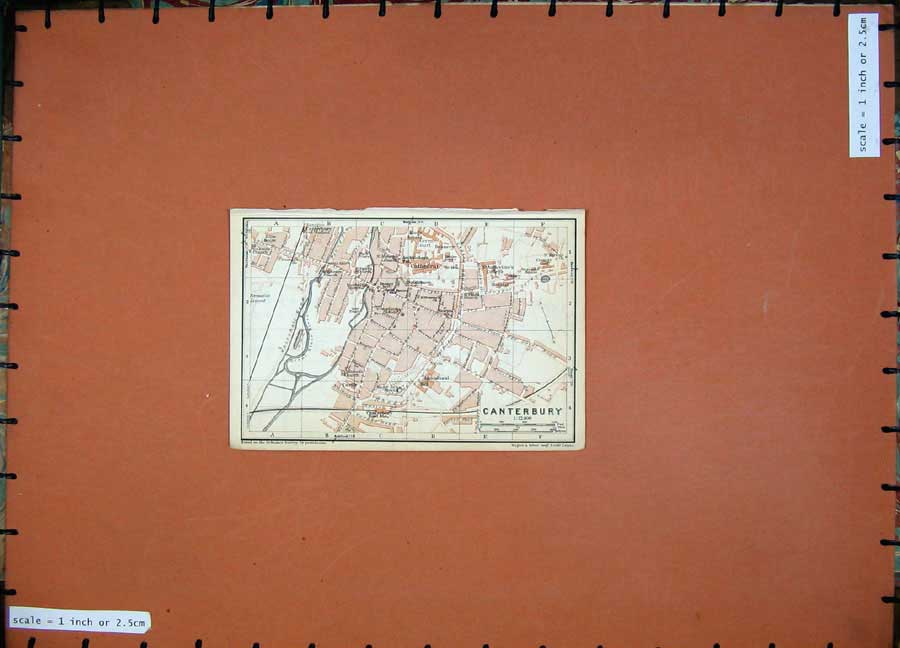Print 1927Colour Map England Street Plan Canterbury Cathedral 112Rd112 Old Original