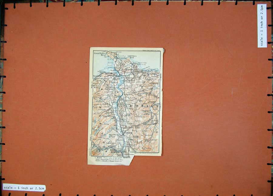 Print 1927 Colour Map England Wales Denbigh Gonway Llanrwst 130D112 Old Original