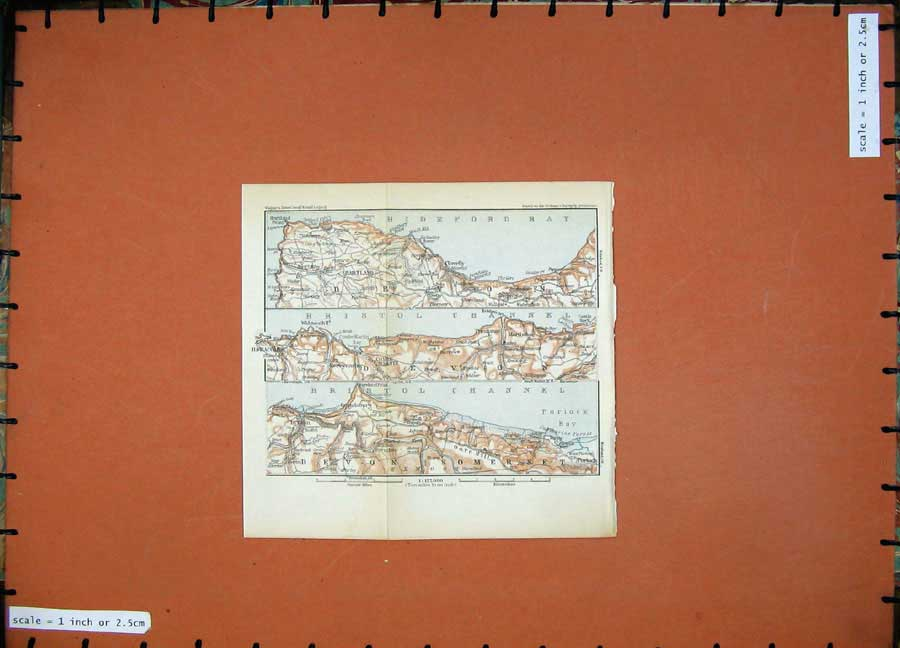 Print 1927 Colour Map England Hartland Bristol Ilfracombe Bay 148D112 Old Original