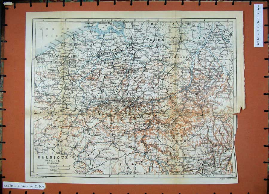 Print 1910 Colour Map Belgium Belgique Bruxelles Masstricht 102D113 Old Original