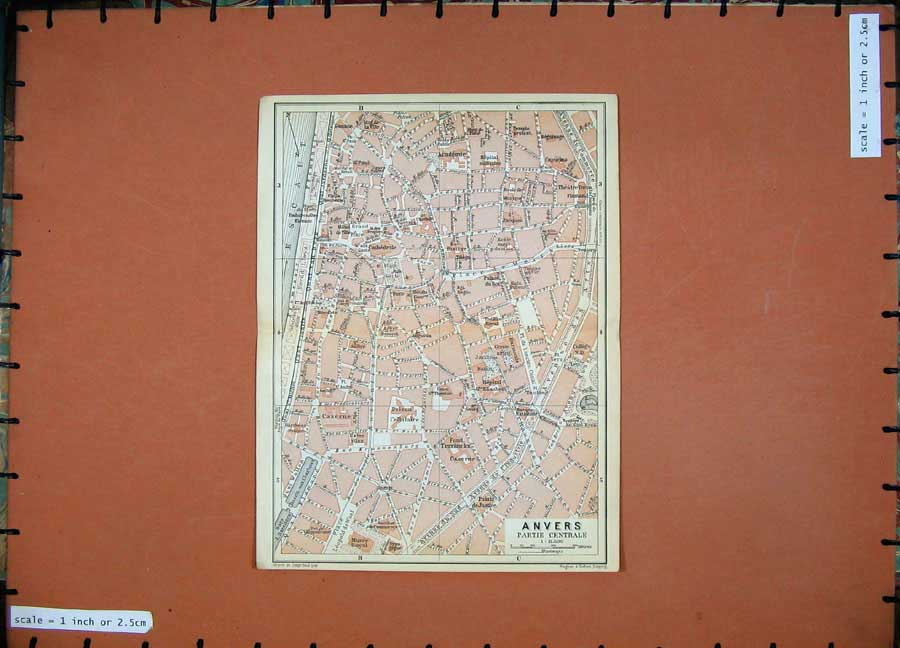 Print 1910 Colour Map Belgium Holland Street Plan Anvers 113D113 Old Original