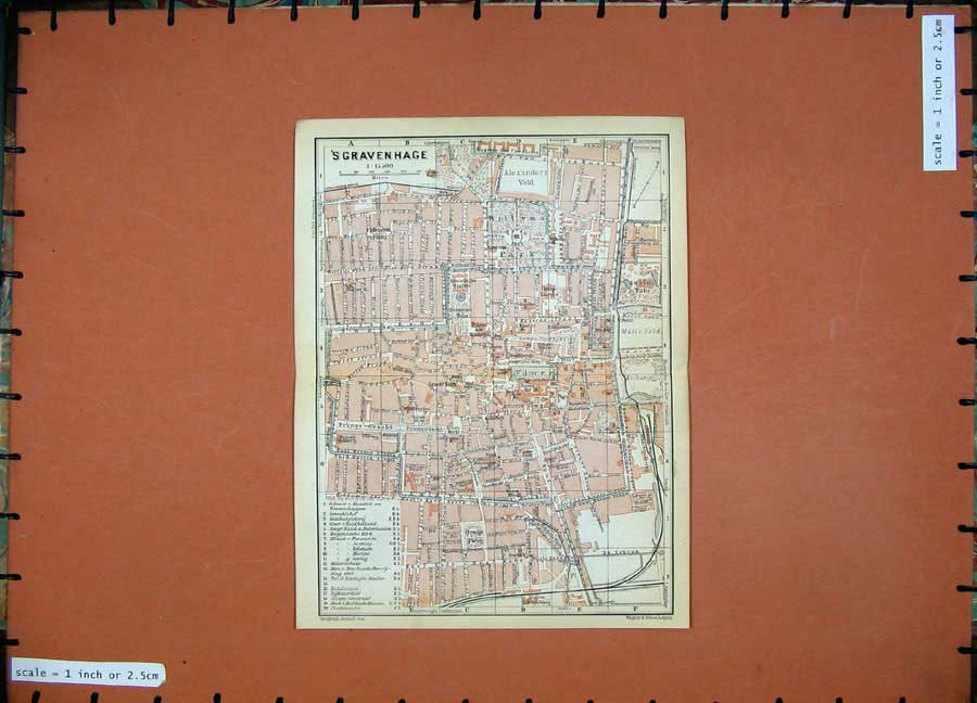 Print 1910 Colour Map Belgium Holland Street Plan Gravenhage 117D113 Old Original