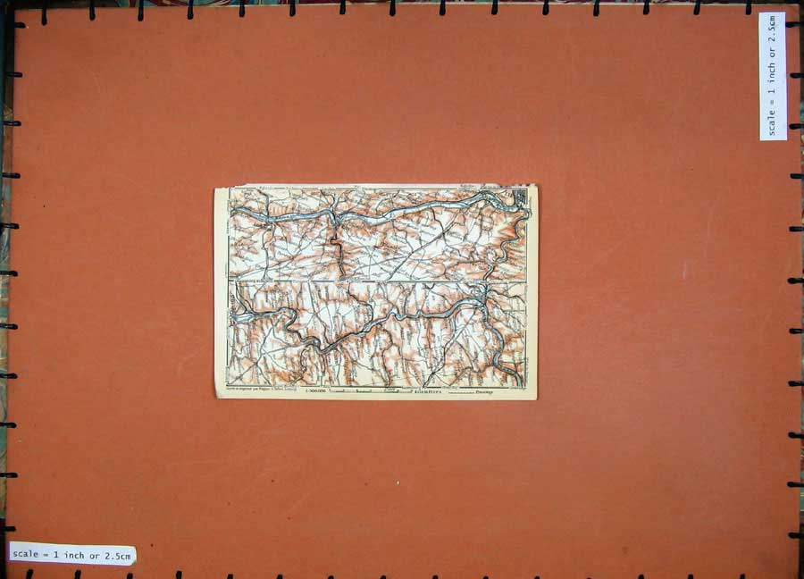 Print Colour Map 1910 Belgium Holland Namur Huy Dinant Liege 129D113 Old Original