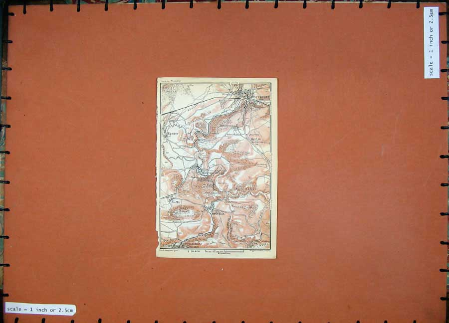 Print Colour Map 1910 Holland Belgium Belvaux Auffe Rochefort 130D113 Old Original