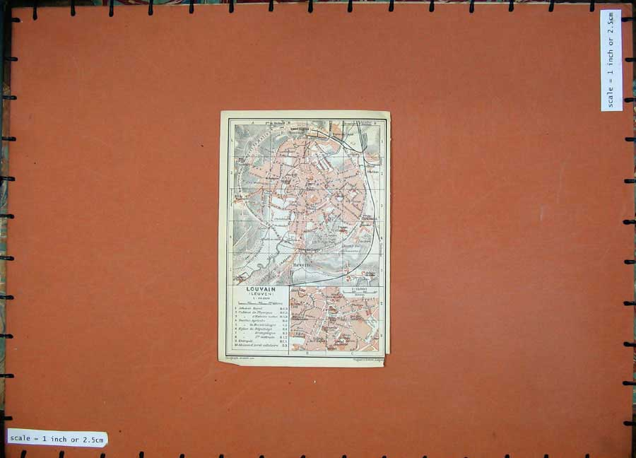 Print 1910 Colour Map Belgium Holland Street Plan Louvain 131D113 Old Original