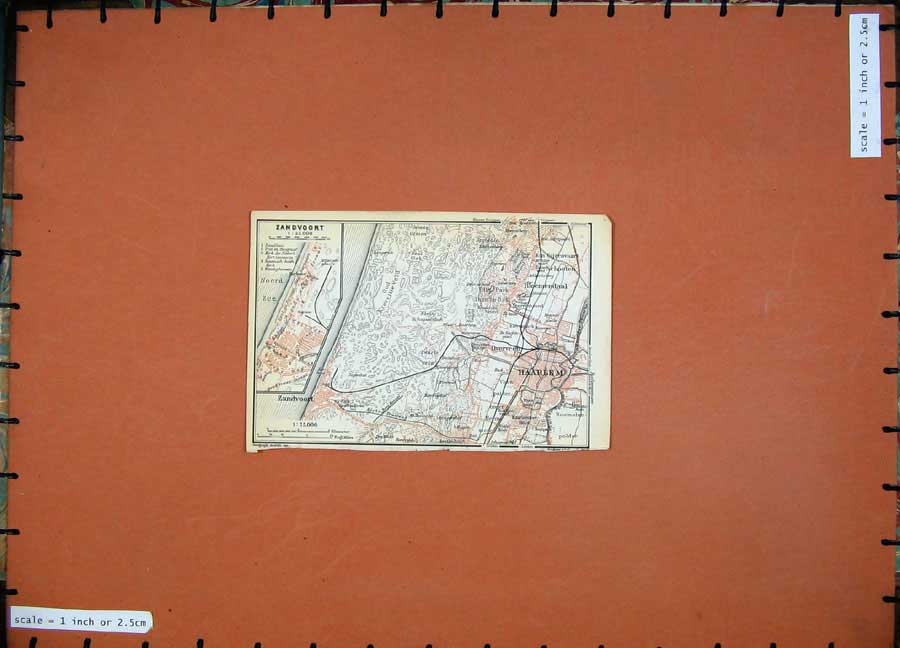 Print 1910 Colour Map Belgium Holland Zandvoort Haarlem Plan 141D113 Old Original