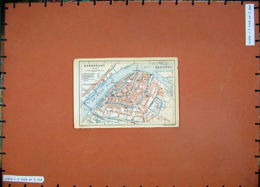 Print Street Plan Dordrecht 1910 Colour Map Belgium Holland 150D113 Old Original