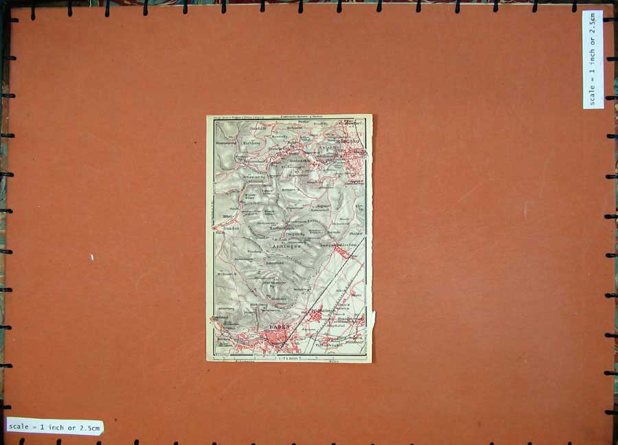 Print 1929 Colour Map Austria Plan Baden Modling Tribuswinkel 106D117 Old Original