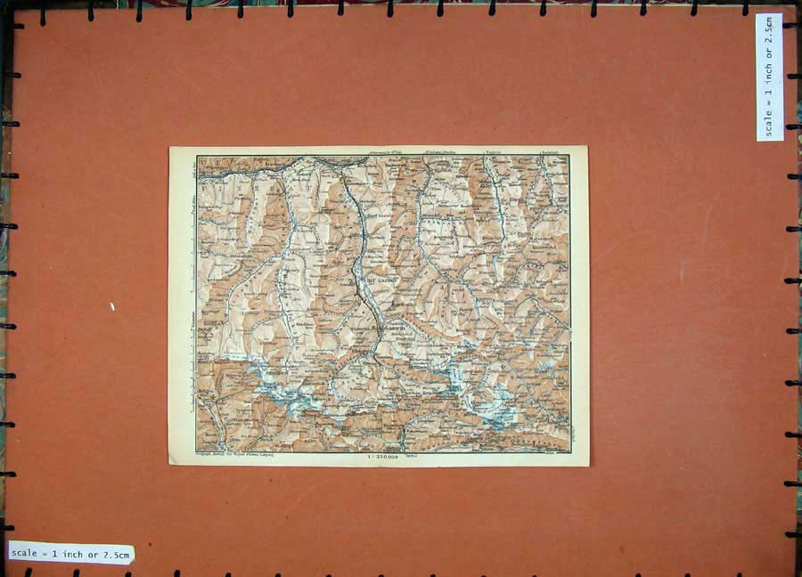 Print 1929 Colour Map Austria Gastein Rauris Hocharu Europe 120D117 Old Original