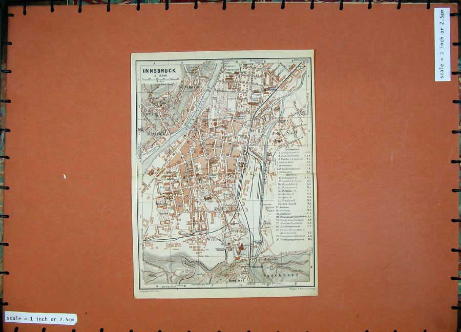 Print 1929 Colour Map Austria Street Plan Innsbruck Wilten 124D117 Old Original