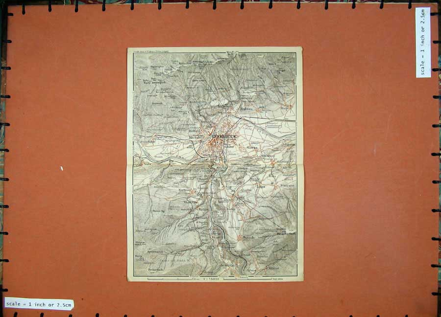 Print 1929 Colour Map Austria Plan Innsbruck Schonberg Lans 125D117 Old Original