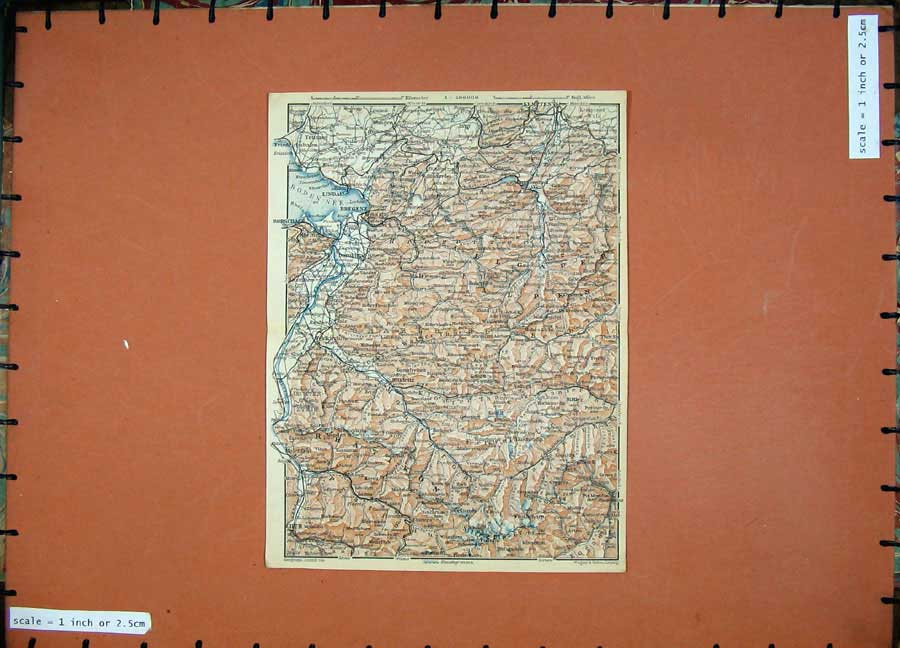 Print 1929 Colour Map Lindau Bregenz Kempten Maienfeld Chur 127D117 Old Original