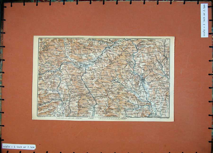 Print 1929 Colour Map Graz Judenburg Leoren Strassburg Wildon 145D117 Old Original