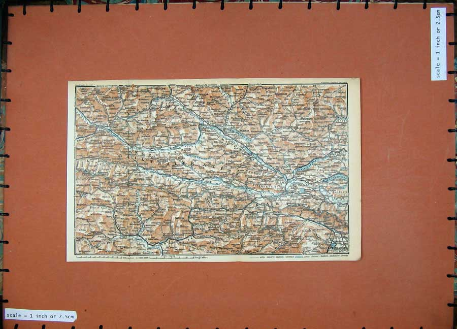 Print 1929 Colour Map Villach Austria Lienz Spittal Ampezzo 147D117 Old Original