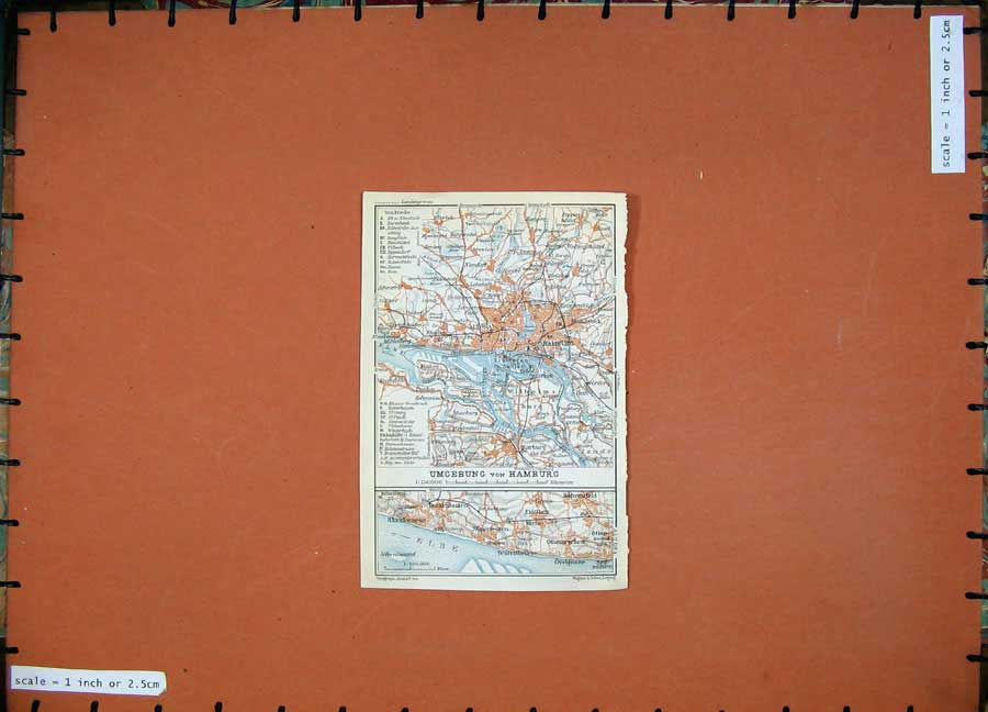 Print 1913 Colour Map Germany Street Plan Umgebung Hamburg 120D118 Old Original