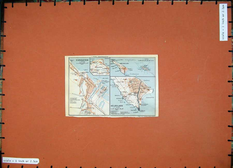 Print 1913 Colour Map Germany Street Plan Cuxhaven Helgoland 122D118 Old Original