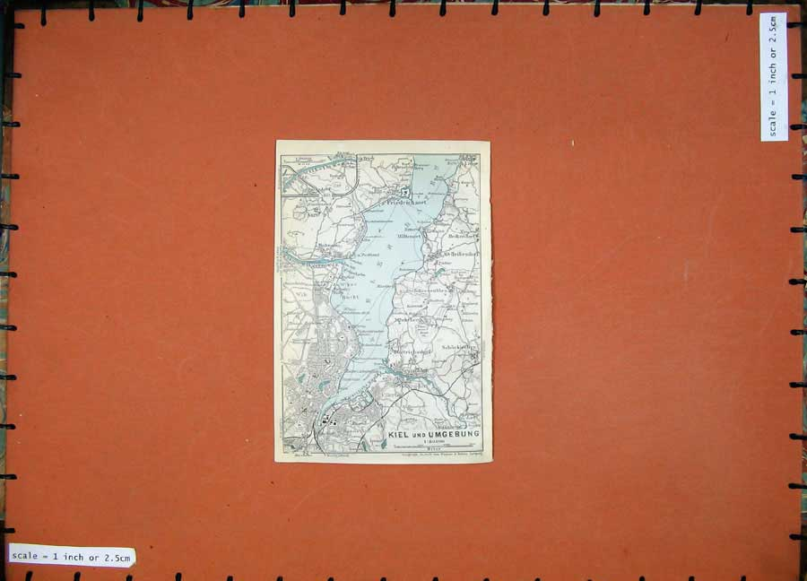 Print 1913 Colour Map Germany Kiel Umgebung Friedrichsort 123D118 Old Original