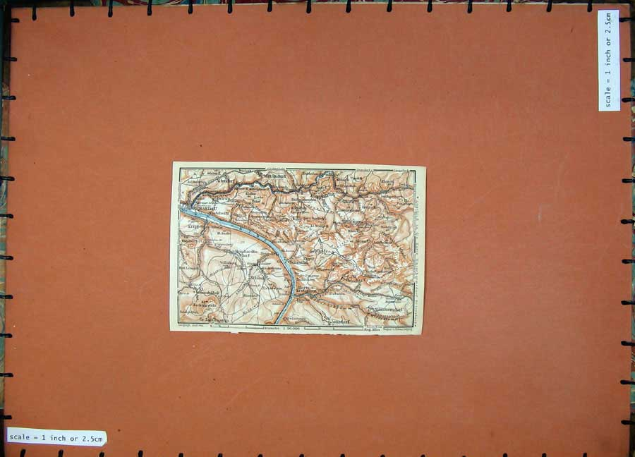 Print 1913 Colour Map Germany Schandau Kuhstall Krippen Elbe 131D118 Old Original