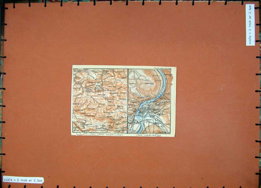 Print 1913 Colour Map Germany Tetschen Rodenbacht River Elbe 132D118 Old Original