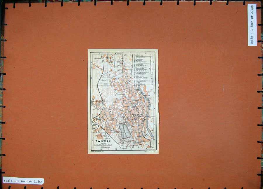 Print 1913 Colour Map Germany Street Plan Zwickau River Mulde 134D118 Old Original