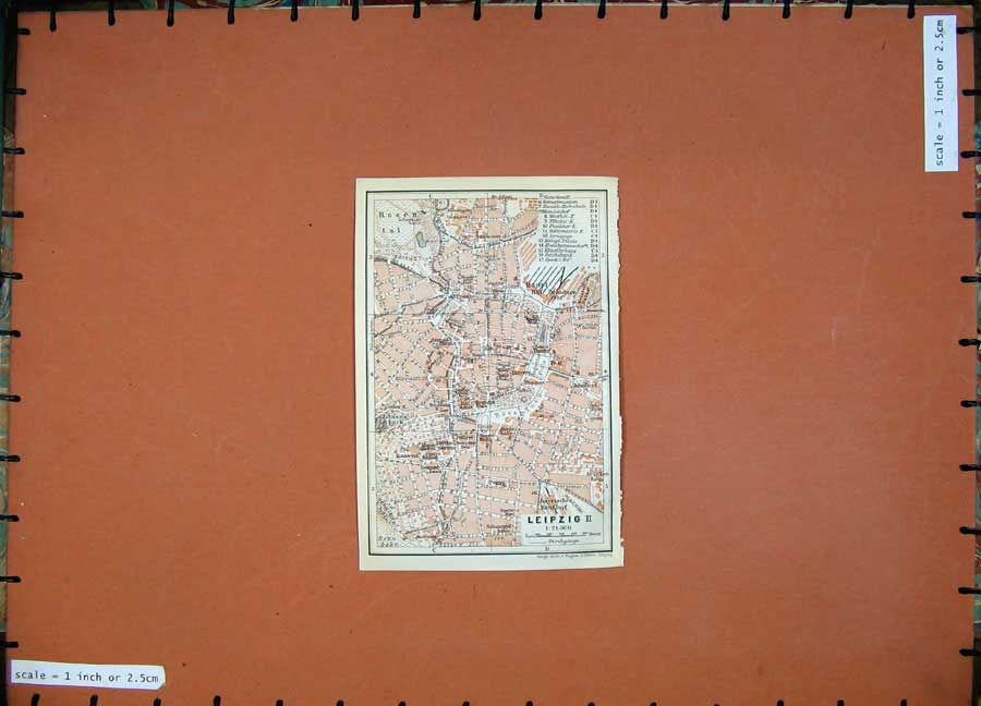 Print 1913 Colour Map Germany Street Plan Leipzig Museum 136D118 Old Original