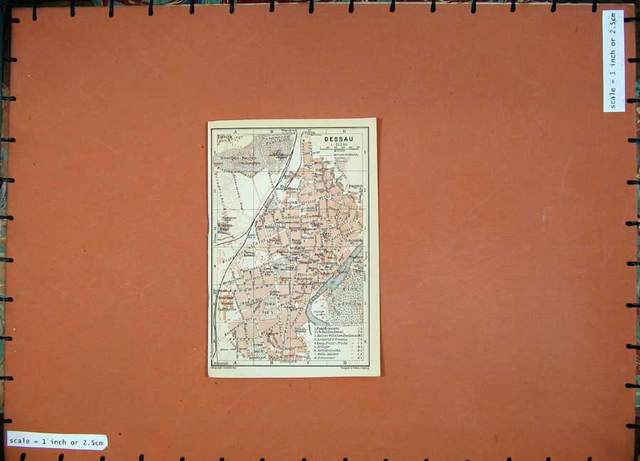 Print 1913 Colour Map Germany Street Plan Dessau Mulde River 138D118 Old Original